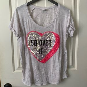 Pink Victoria's Secret Tee- So Over It- Large
